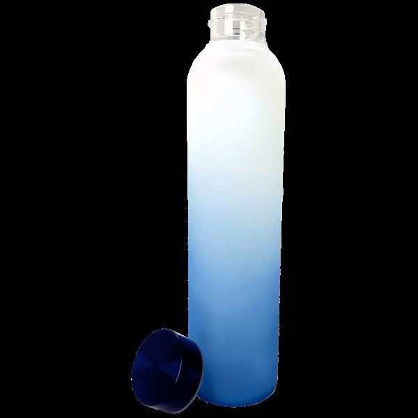 Glasflasche für den Drinkmate Wassersprudler Metalldecken blau weiß Verlauf