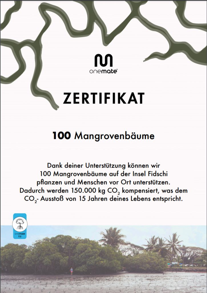 Drinkmate Zertifikat Onemate 100 Mangrovenbäume gepflanzt bei jeweils 100 Drinkmates